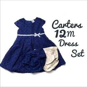 Carter's EUC  12M Navy Lace Dress 2 Bottoms